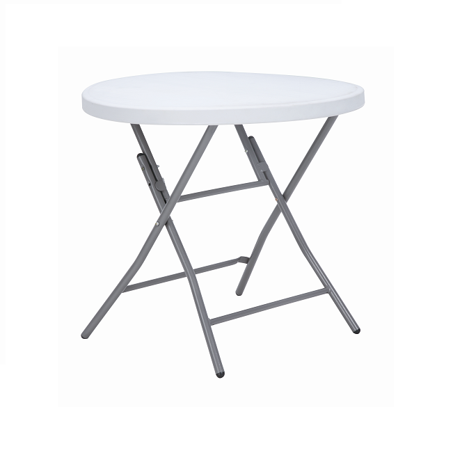 Dia 80CM high quality White cheap folding indoor Round Plastic Table Trestle Table Outdoor high top bar tables 80cm Featured Image