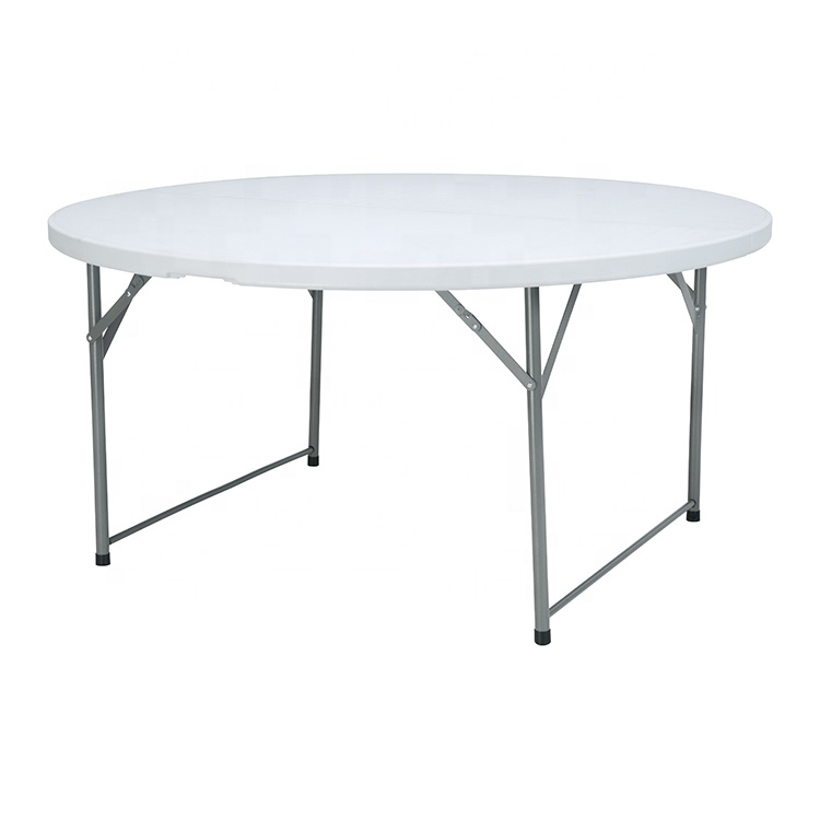 round picnic table set Cheap Commercial Fold-In-Half white plastic folding picnic table round foldable table for outdoor use