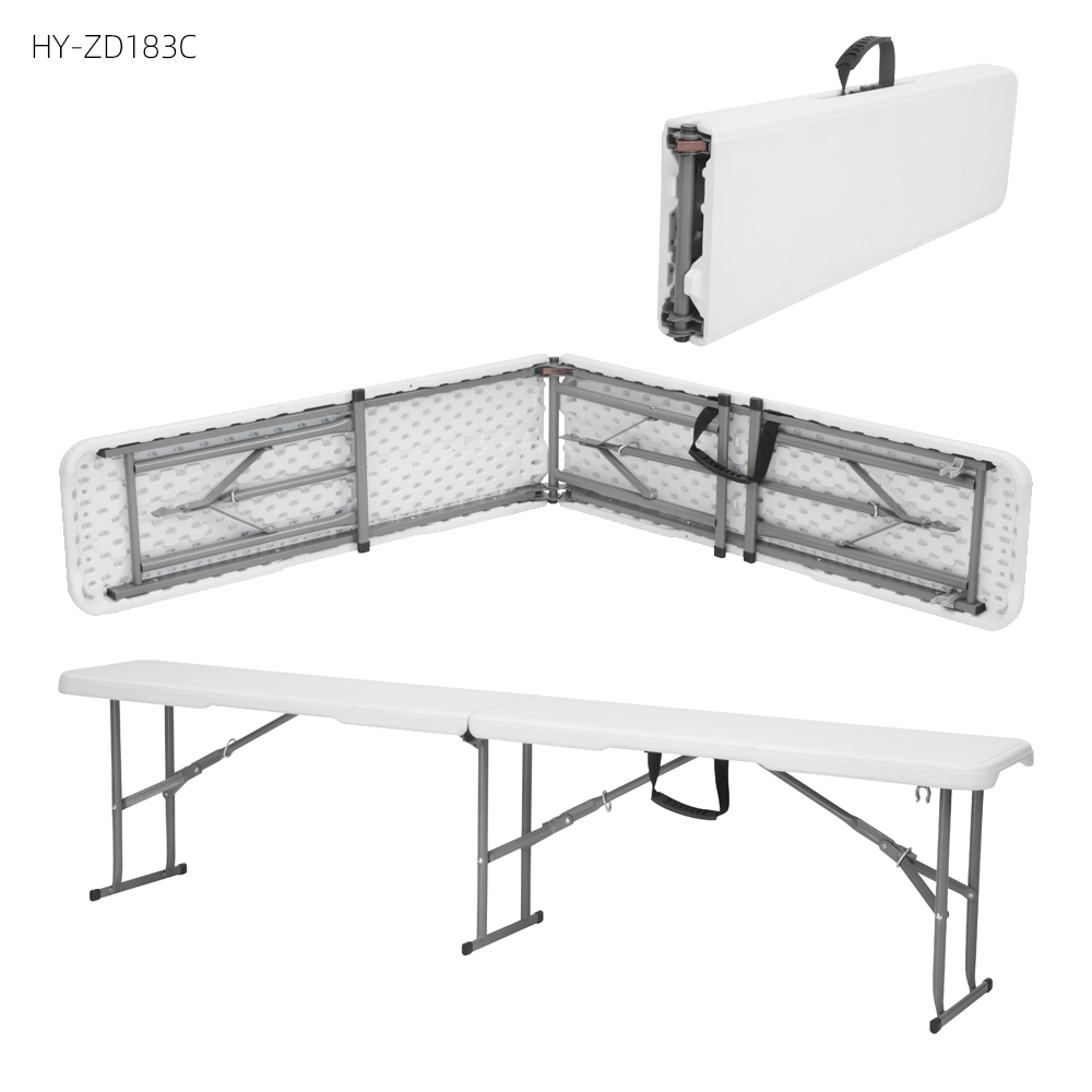Wholesale custom outdoor portable camping 6ft Off-white HDPE Plastic Portable Folding Bench