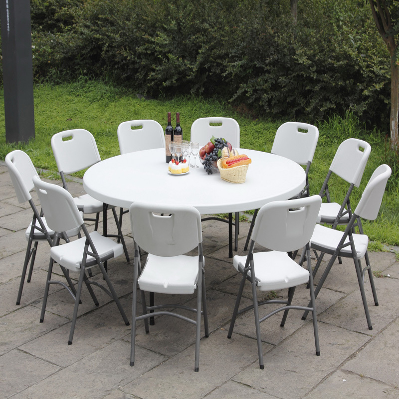HDPE plastic folding round Dia180cm table  leisure garden table 2019 hot selling outdoor wedding 10 people round table