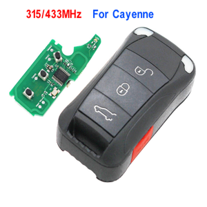 4 BUTTONS Remote Key Fob 3+1 Button 315MHz/433mhz for Porsche Cayenne 2004-2011 with ID46 chip Uncut HU66 blade