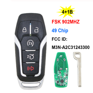 4+1/5B Smart Remote Key FSK 902MHz HITAG PRO M3N-A2C31243300 for Ford Fusion Explorer Edge Mustang F150 F250 F450 350 Super Duty