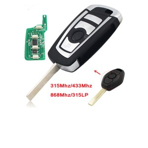 Flip Remote Smart Car Key ID7944 Chip 315MHZ 433MHZ 868MHZ  for BMW CAS2 1 3 5 6 Series X5 HU92 Uncut Blade