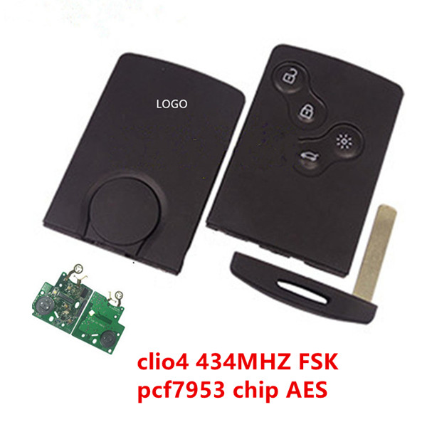 smart key 4 button keyless Remote key 433mhz hitag AES 7953 chip for renault Clio III after 2013 key Featured Image