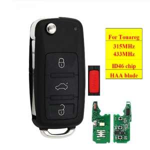 4 Buttons Keyless entry Fob 3+1 Buttons 315MHz 433MHz Flip Remote Key for VW for Volkswagen for Touareg 2002-2010 with ID46 Chip
