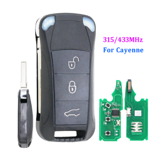 3 Button Remote Key Fob 315MHz/433mhz for Porsche Cayenne 2004-2011 with ID46 chip Uncut blade