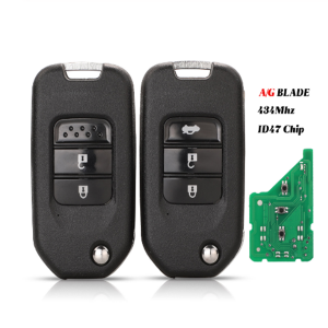 3B Remote Car Key Suit For Honda Civic Accord City CR-V Jazz XR-V Vezel HR-V FRV Auto Lock 433MHz With ID47 Chip