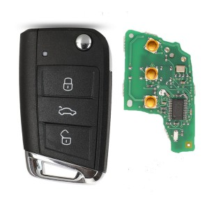 Keyless-go Remote Key VW  MQB platform 3 button flip remote key  with ID48 chip-434mhz & HU66 blade, used for T-Cross, Magotan, sagitar ect