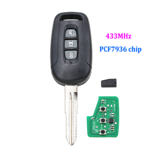 3 Button Remote Key Fob  for Chevrolet Captiva 433MHz ID46 PCF7936 Chip Uncut blade