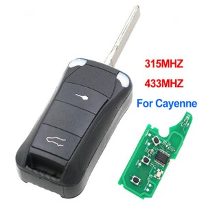 2 Button Remote Car Key Fob 315Mhz or 433Mhz with ID46 Chip for Porsche Cayenne 2004 – 2011 HU66 Uncut Blade