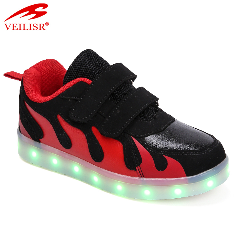 Zapatos PU upper children casual shoes kids LED light shoes