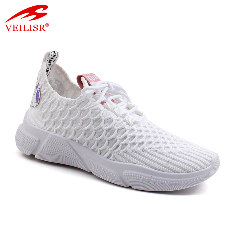 Outdoor summer knit fabric ladies light sport shoes women sneakers