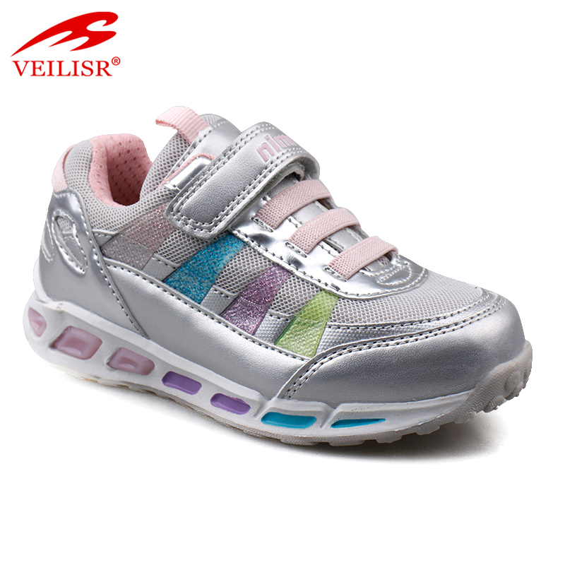 Outdoor fashion PU mesh children sneakers kids LED light shoes