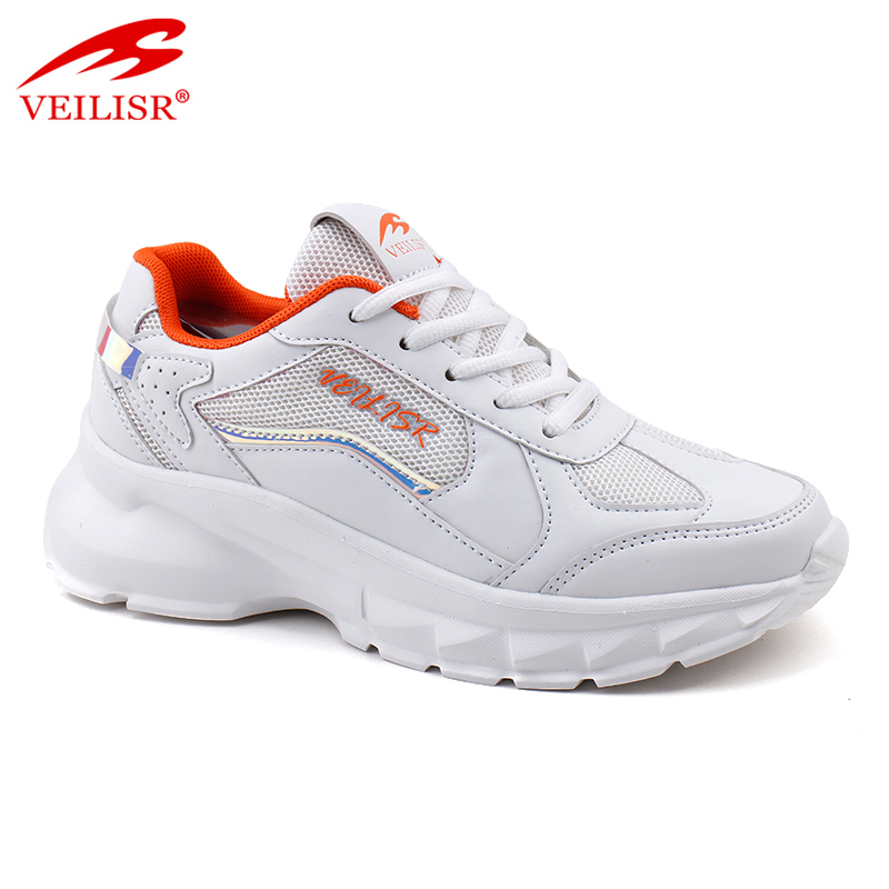 Outdoor fashion PU mesh ladies chunky casual shoes women sneakers