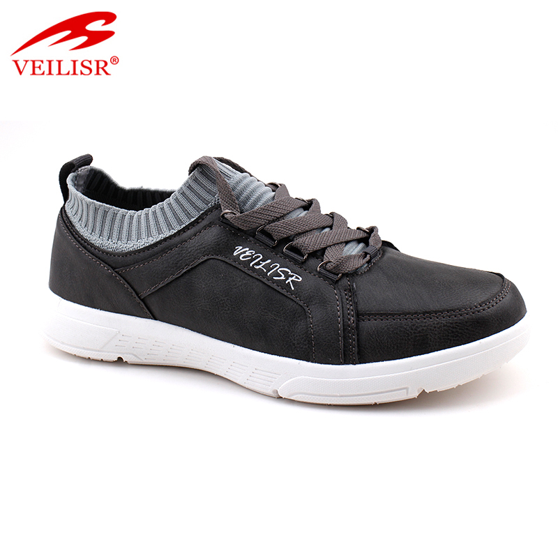 Outdoor fashion faux leather upper sneakers men casual shoes
