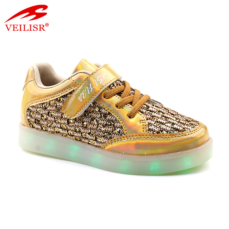 Outdoor PU fabric upper children sneakers Kids LED light shoes