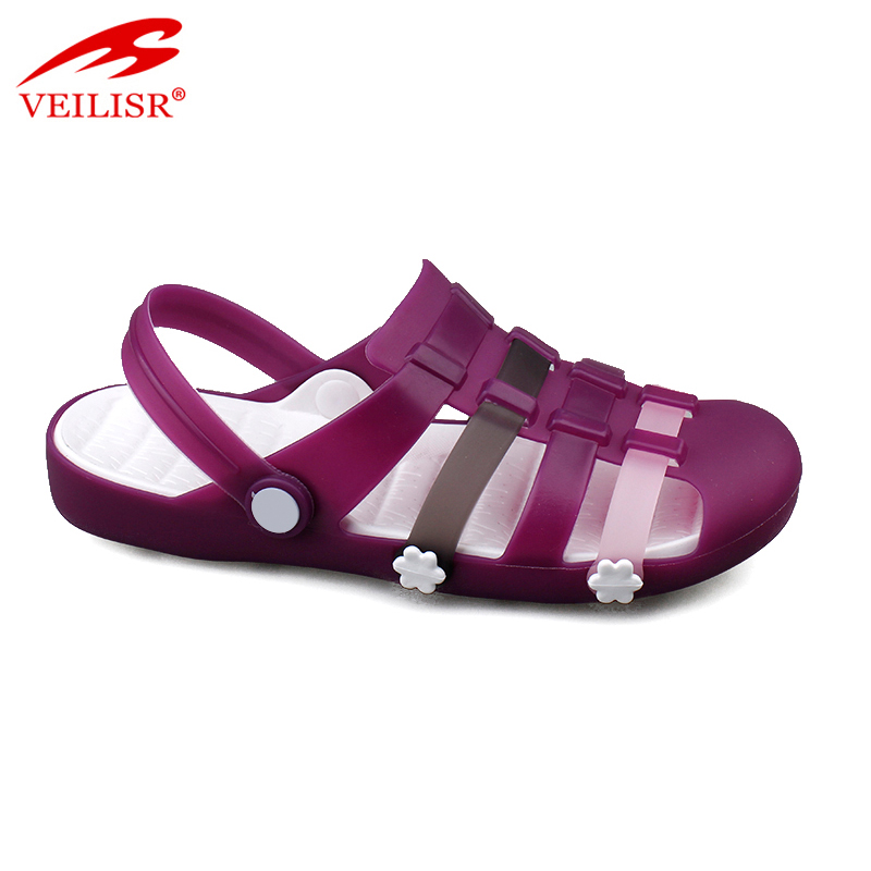 Outdoor summer beach ladies clear PVC jelly sandals women clogs