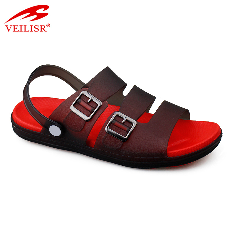 Outdoor summer beach clear PVC upper jelly clogs men sandals