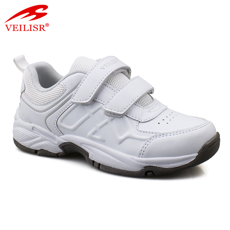 Outdoor fashion PU mesh children casual sneakers kids school shoes