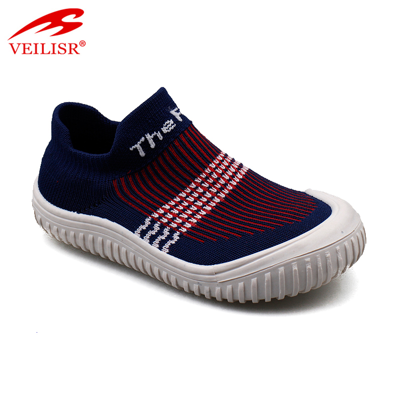 Outdoor summer knit fabric upper children sneakers kids casual shoes