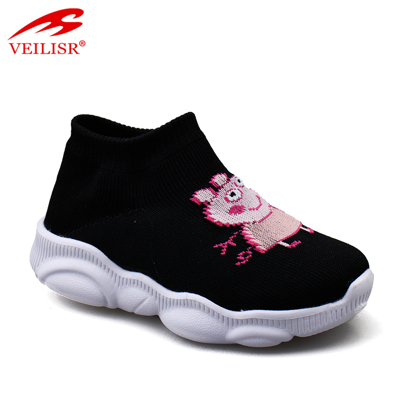 2020 Newest style Wholesale China factory Low Price Outdoor knit fabric upper children slip on sneakers kids casual shoes