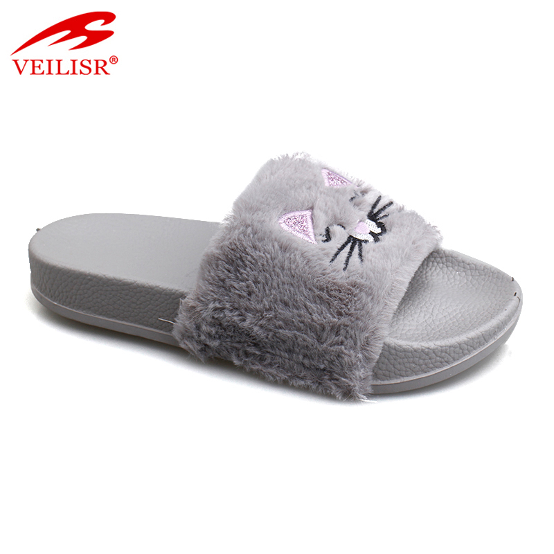 Wholesale fur upper children house footwear kids indoor slippers