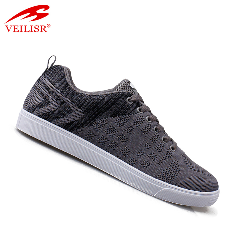 Outdoor fashion knit fabric upper flat grey men casual shoes walking sneakers