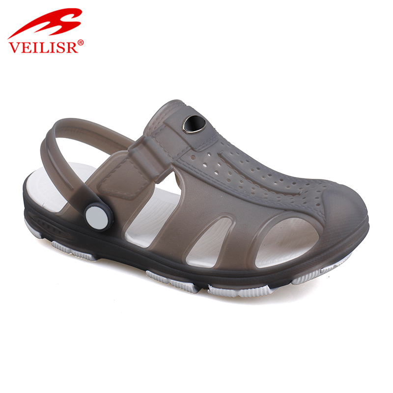 New design summer beach jelly shoes clear PVC sandals men clogs