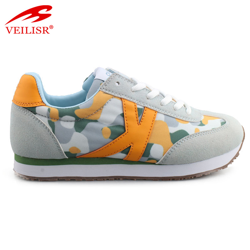 Custom printed fabric faux suede casual shoes women fashion sneakers