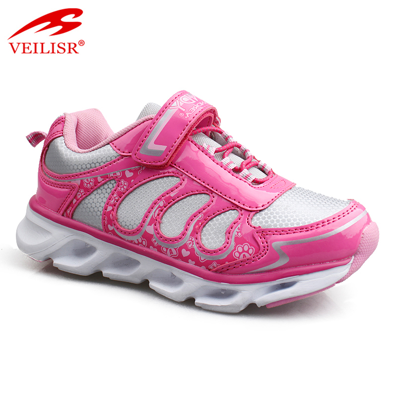 Outdoor fashion PU mesh children LED light sneakers kids casual shoes