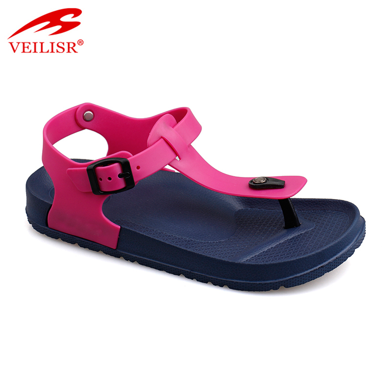 Outdoor summer ladies pvc T strap EVA sole footwear women sandals