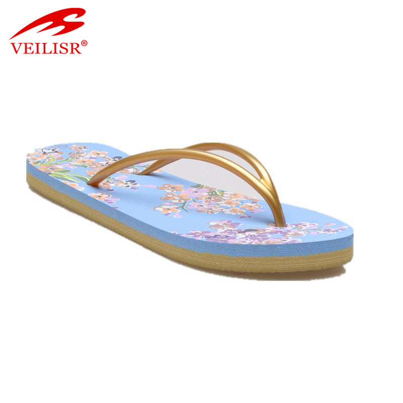 Outdoor summer PVC strap slippers women beach flat flip flops