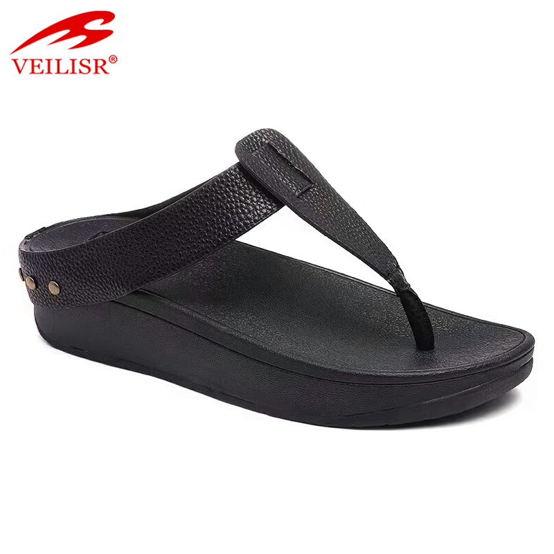 Chancletas ladies PU strap slippers women wedge flip flops