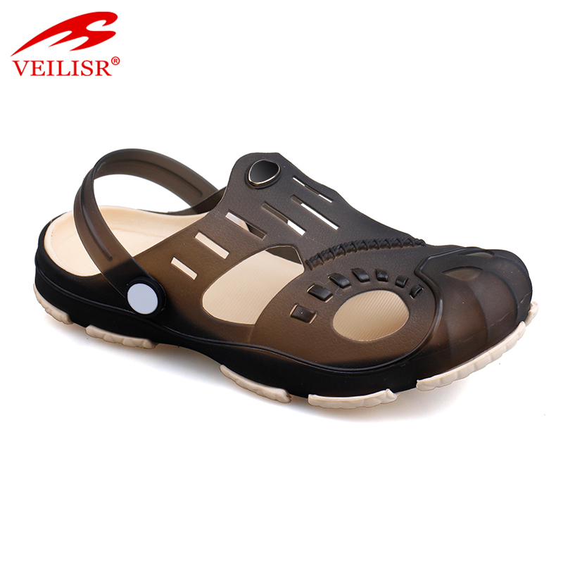Outdoor summer beach jelly shoes clear PVC sandals men clogs