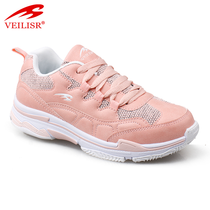 New design PU mesh casual sport shoes women fashion chunky sneakers