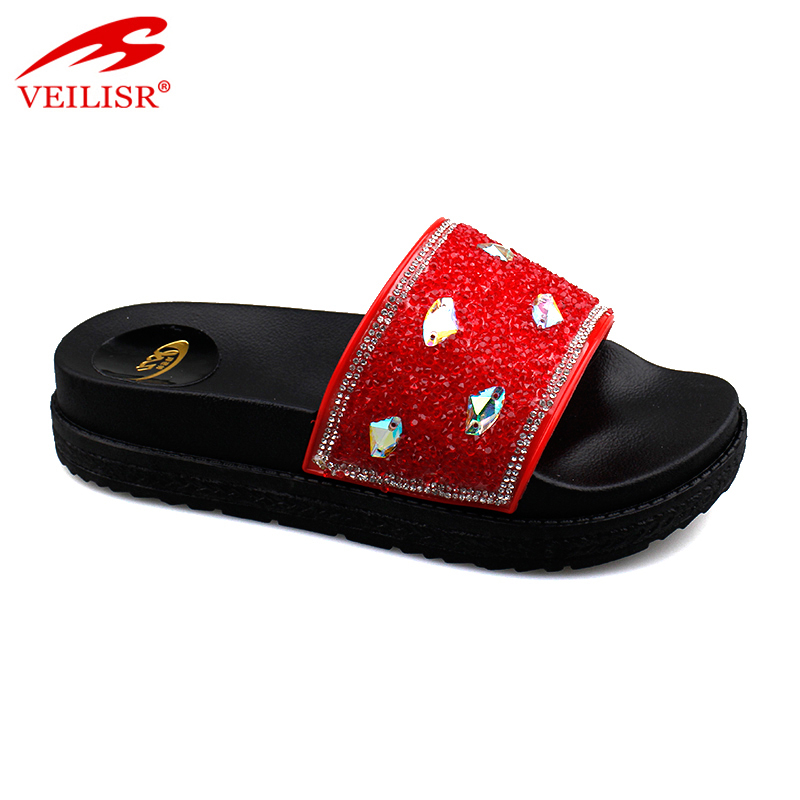 Outdoor summer ladies thick sole PVC slippers women slide sandals