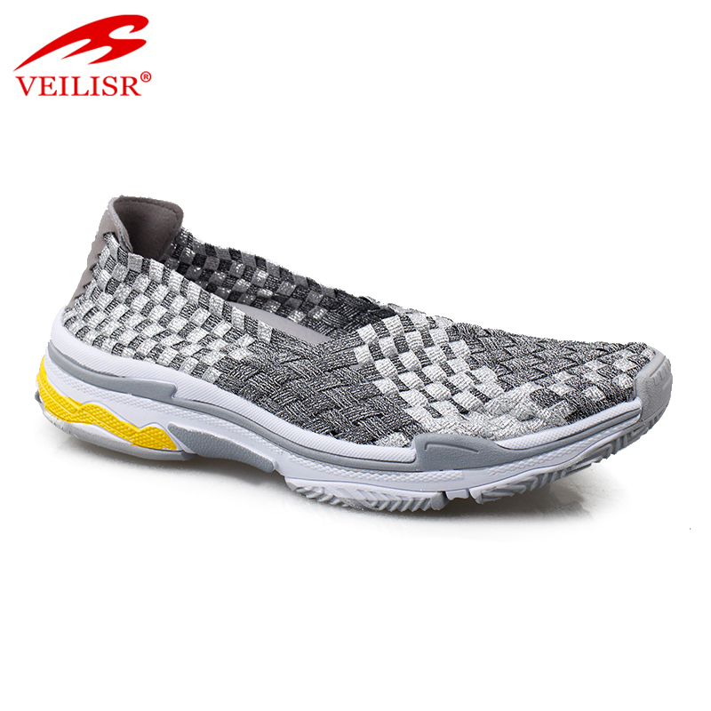 2018 new style casual women footwear slip on woven shoes