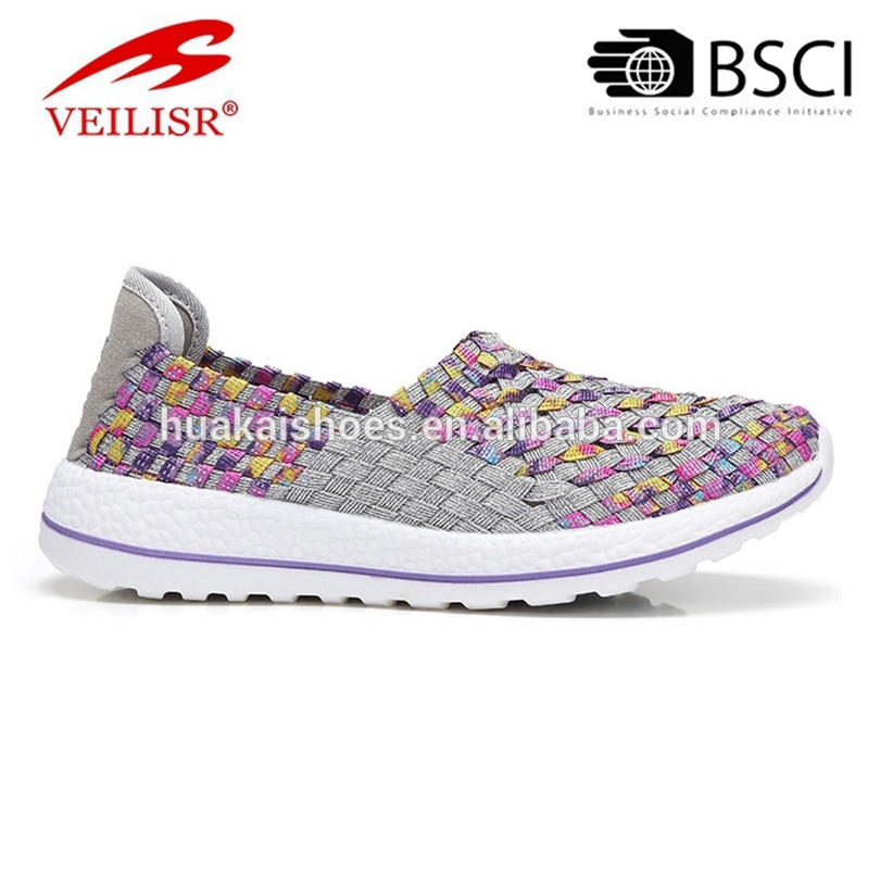 Cute Simple Hot Lightweight comfy lady woven fabric elastic slip on women casual woven shoes