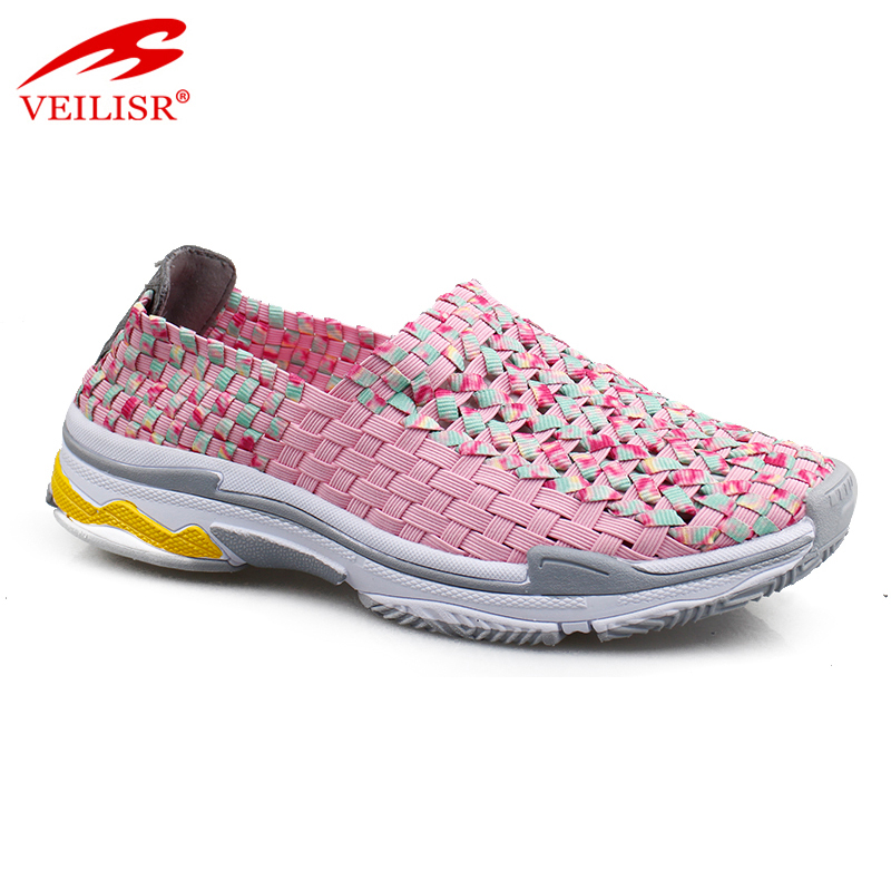 New fashion casual women footwear slip on woven shoes