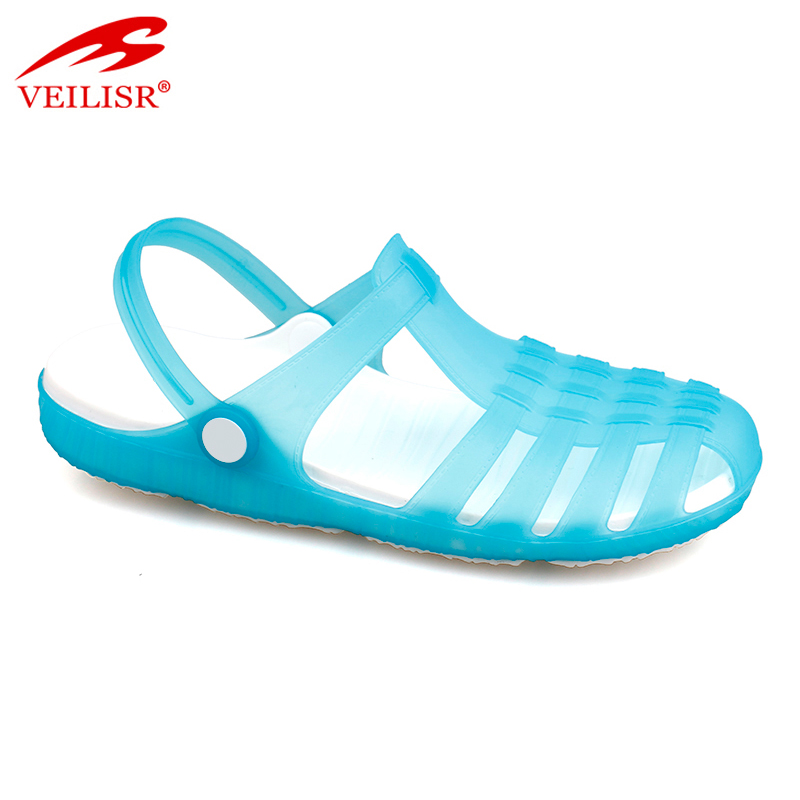 New style ladies beach jelly shoes clear PVC clogs women sandals