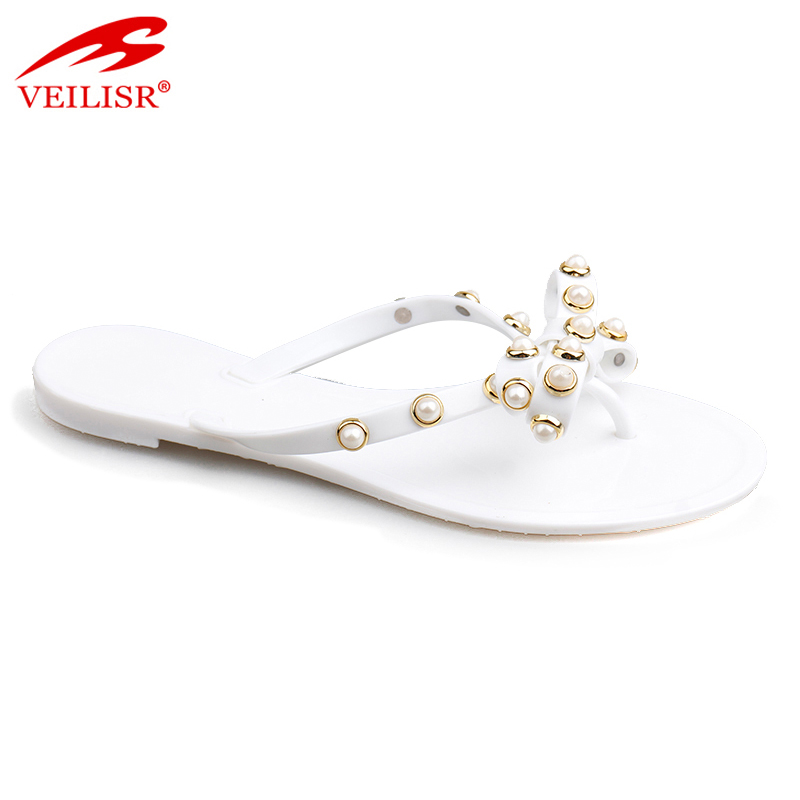 Pantuflas ladies beaded PVC slippers women flat flip flops