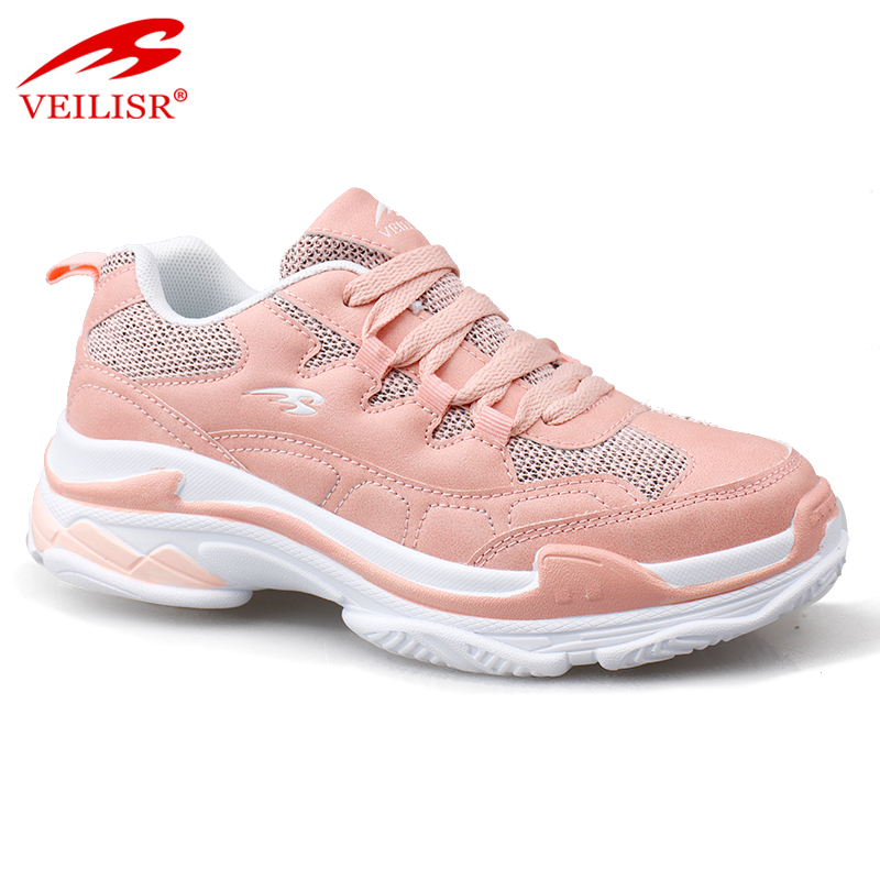 New design PU mesh chunky pink women retro casual sport shoes running sneakers