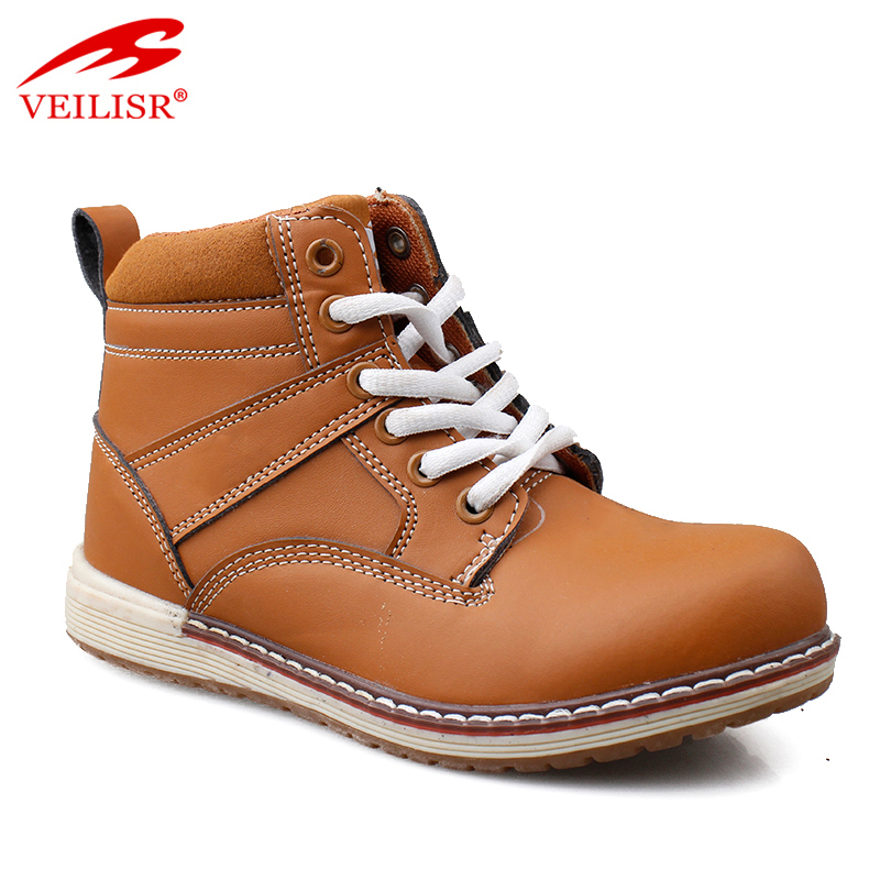 Zapatos outdoor high top yellow khaki leather kids ankle boots children fashion casual shoes