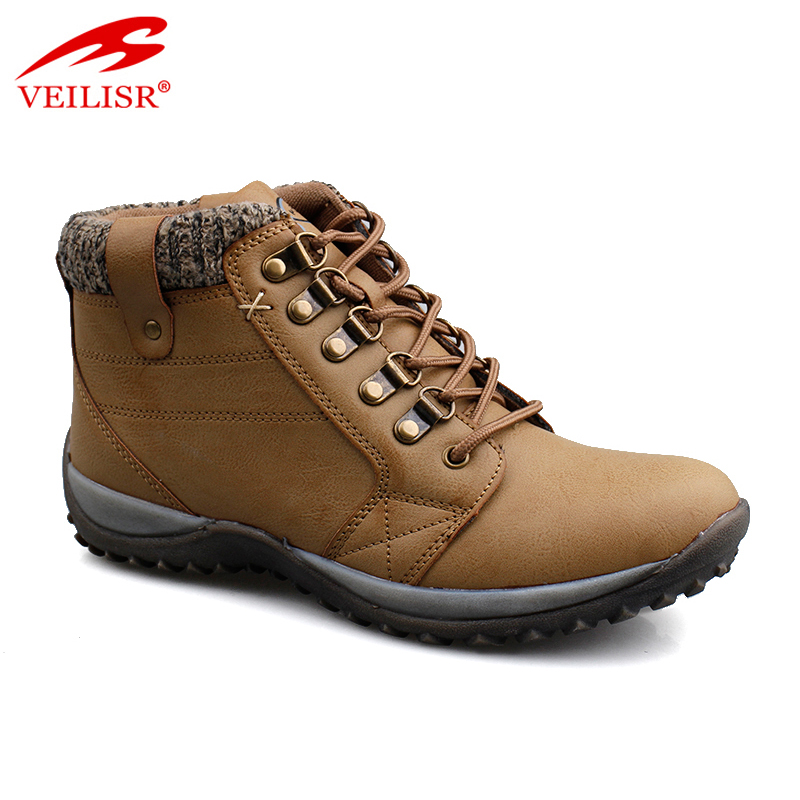Outdoor faux leather trendy trekking shoes casual men winter boots