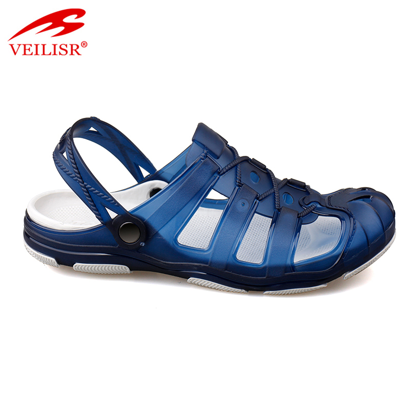 Outdoor summer beach EVA sole clear PVC jelly sandals men clogs