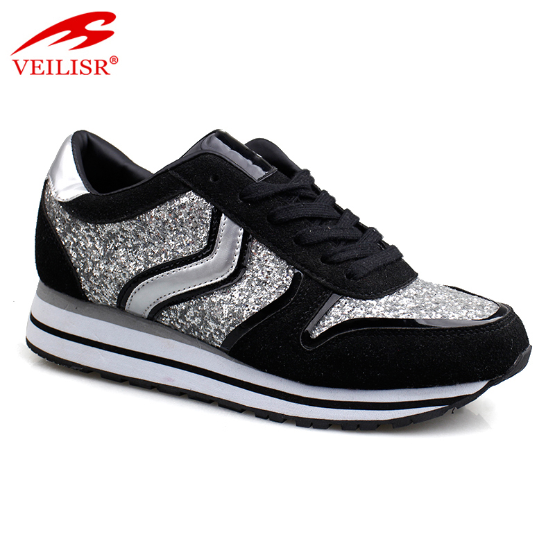 New design glitter faux suede casual shoes women fashion sneakers