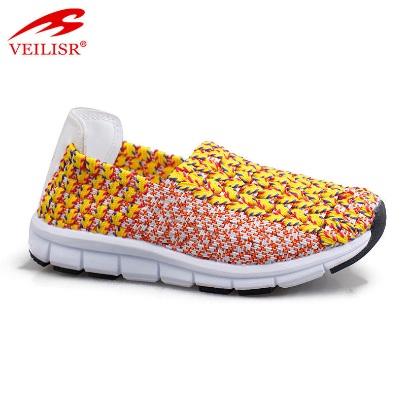 Outdoor summer ladies slip on casual sneakers women woven shoes