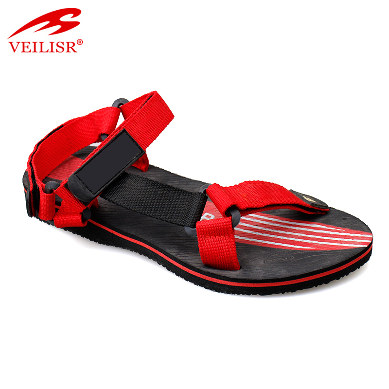 New model street fashion fabric tape footwear men flat sandals