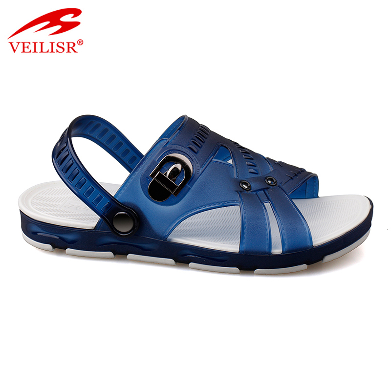 Latest design jelly shoes clear PVC footwear men beach sandals
