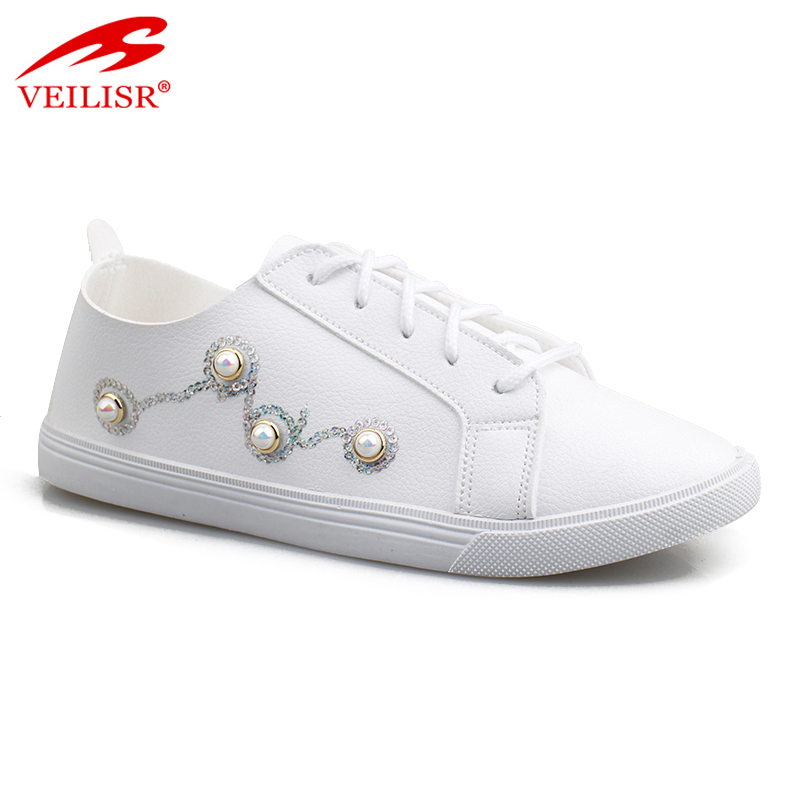 Best selling Popular China factory Durable New style white fashion ladies PU footwear women sneakers ladies casual sport shoes
